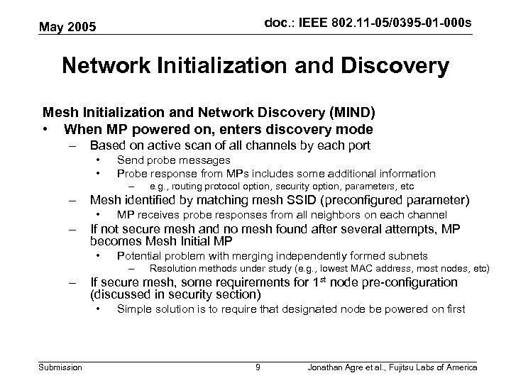 doc. : IEEE 802. 11 -05/0395 -01 -000 s May 2005 Network Initialization and