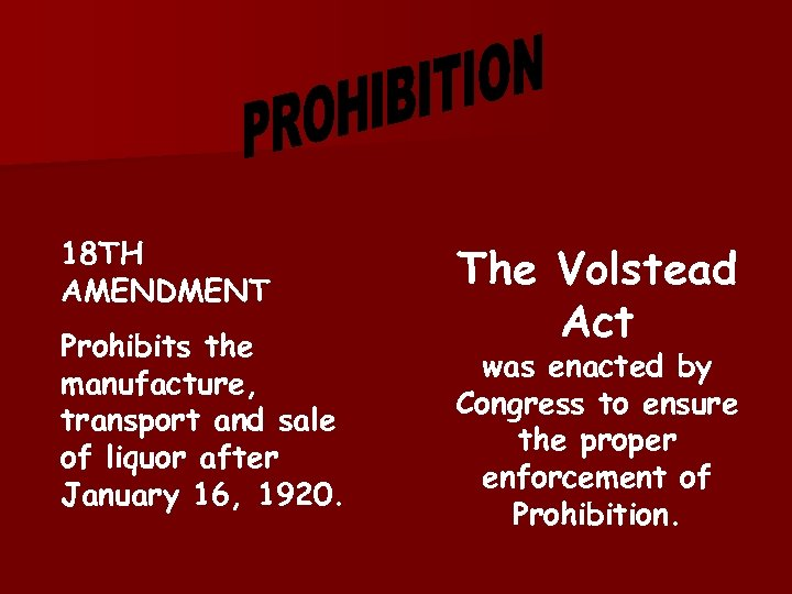 18 TH AMENDMENT Prohibits the manufacture, transport and sale of liquor after January 16,