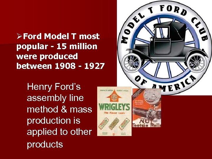 ØFord Model T most popular - 15 million were produced between 1908 - 1927