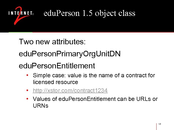 edu. Person 1. 5 object class Two new attributes: edu. Person. Primary. Org. Unit.