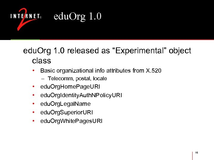 """edu. Org 1. 0 released as """"Experimental"""" object class • Basic organizational info attributes"""