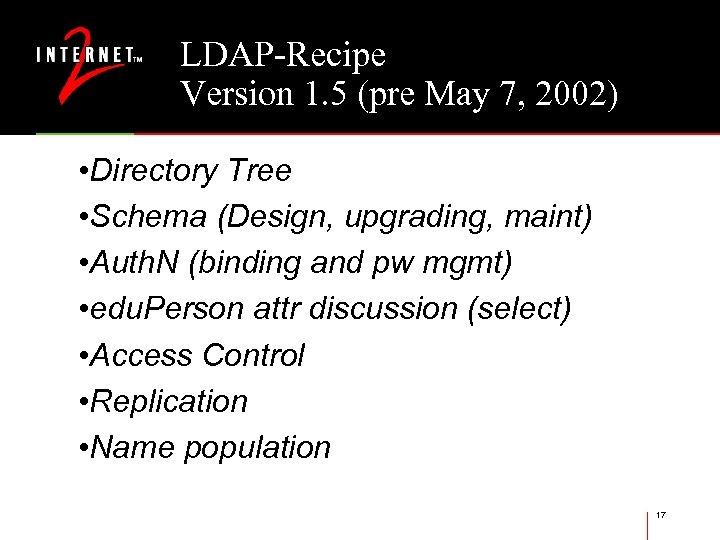 LDAP-Recipe Version 1. 5 (pre May 7, 2002) • Directory Tree • Schema (Design,