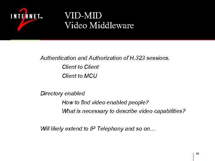 VID-MID Video Middleware Authentication and Authorization of H. 323 sessions. Client to MCU Directory