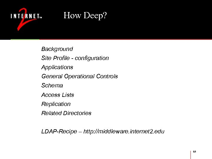 How Deep? Background Site Profile - configuration Applications General Operational Controls Schema Access Lists