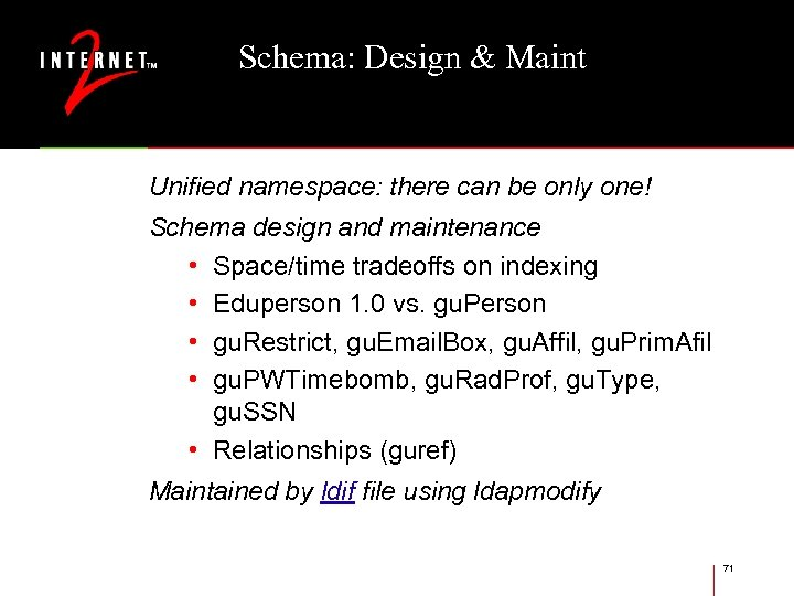 Schema: Design & Maint Unified namespace: there can be only one! Schema design and