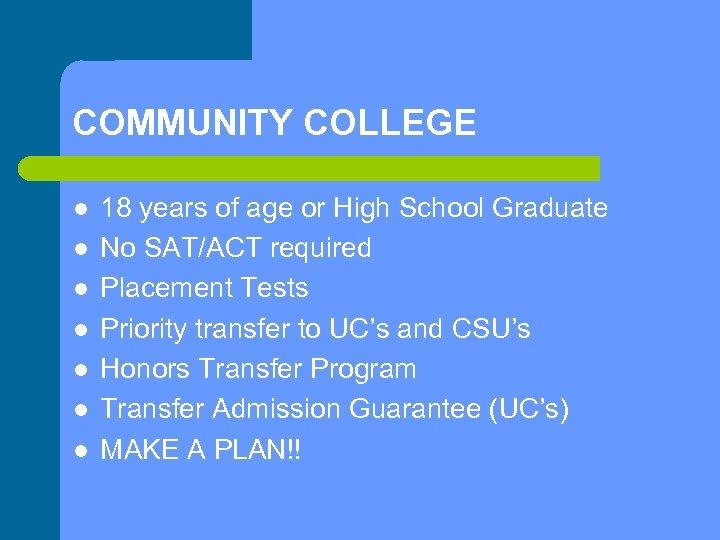 COMMUNITY COLLEGE l l l l 18 years of age or High School Graduate
