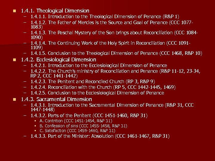 n 1. 4. 1. Theological Dimension n 1. 4. 2. Ecclesiological Dimension n 1.