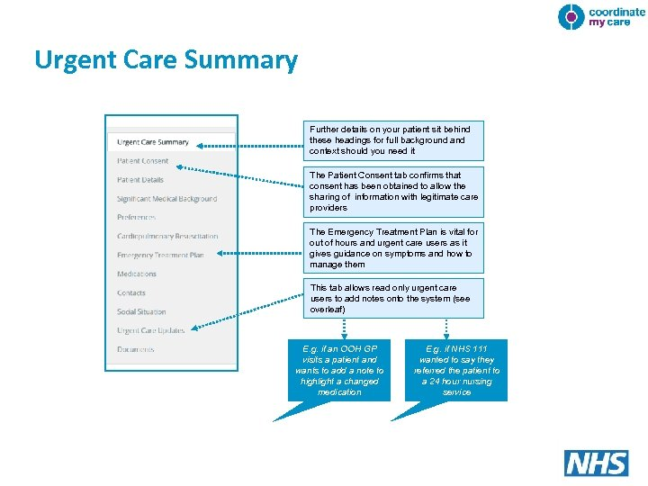 Urgent Care Summary Further details on your patient sit behind these headings for full