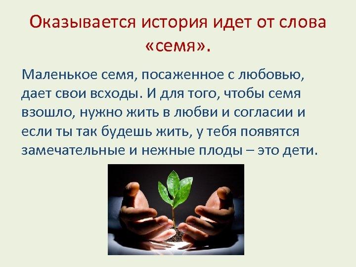 Оказывается история идет от слова «семя» . Маленькое семя, посаженное с любовью, дает свои
