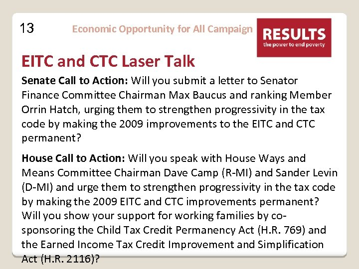13 Economic Opportunity for All Campaign EITC and CTC Laser Talk Senate Call to