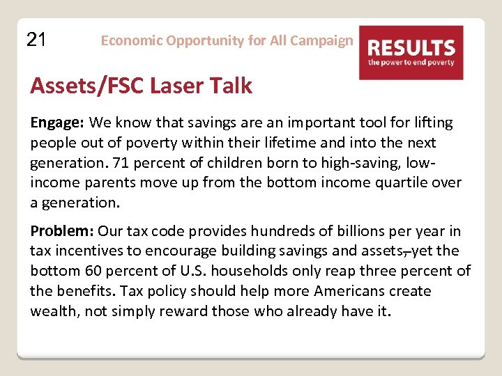 21 Economic Opportunity for All Campaign Assets/FSC Laser Talk Engage: We know that savings