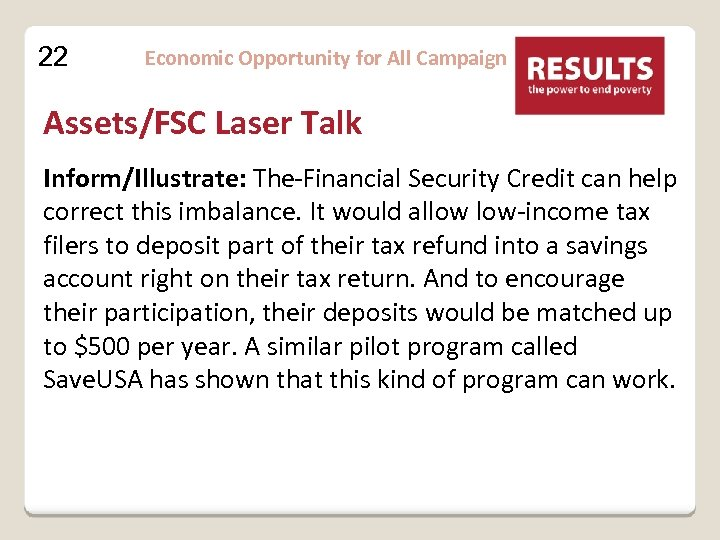 22 Economic Opportunity for All Campaign Assets/FSC Laser Talk Inform/Illustrate: The Financial Security Credit