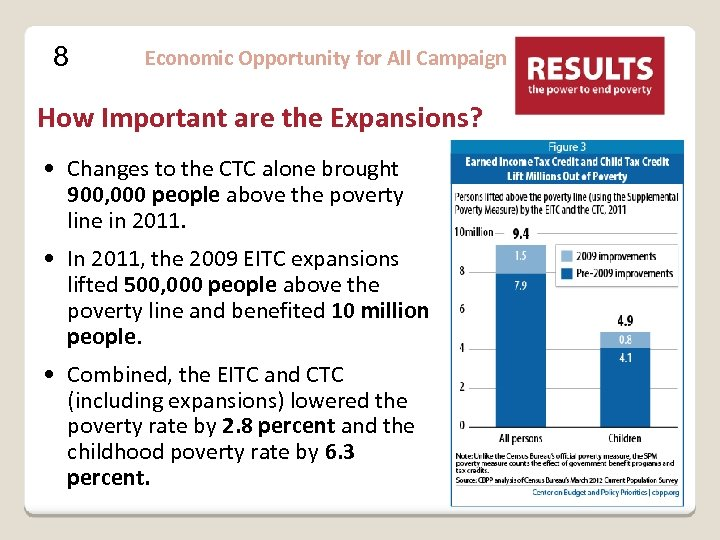 8 Economic Opportunity for All Campaign How Important are the Expansions? • Changes to