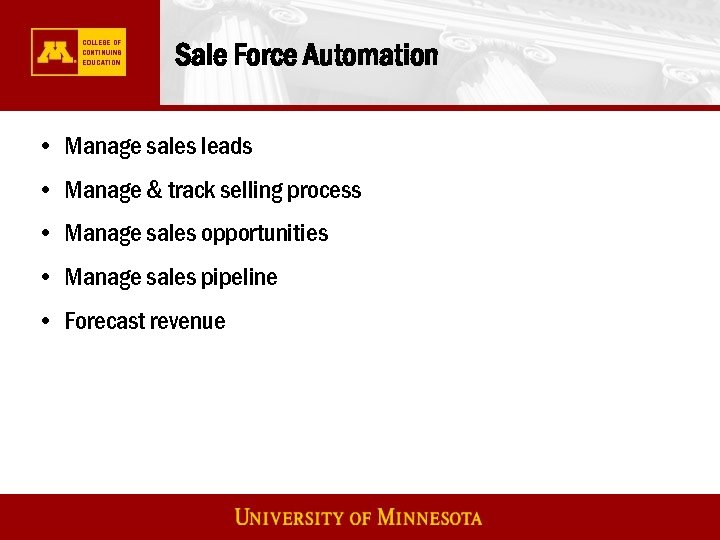 Sale Force Automation • Manage sales leads • Manage & track selling process •
