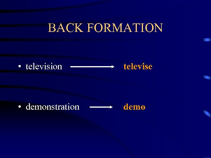 BACK FORMATION • television televise • demonstration demo