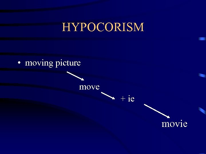 HYPOCORISM • moving picture move + ie movie