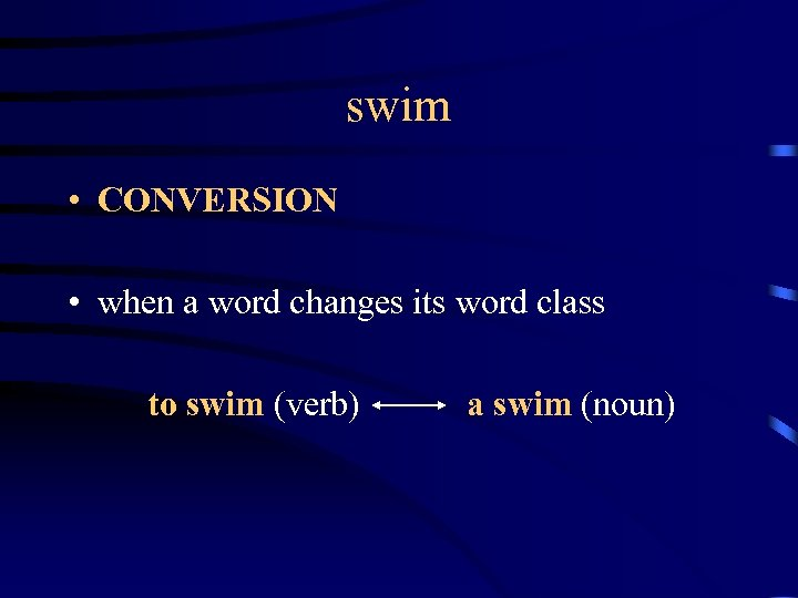 swim • CONVERSION • when a word changes its word class to swim (verb)