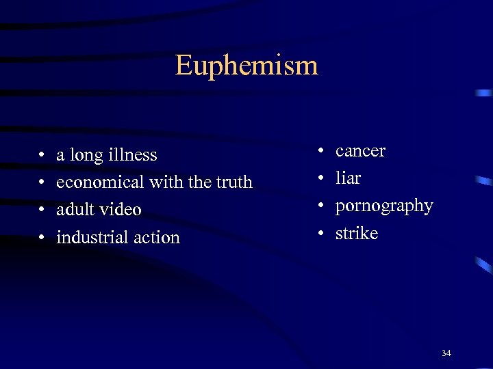 Euphemism • • a long illness economical with the truth adult video industrial action