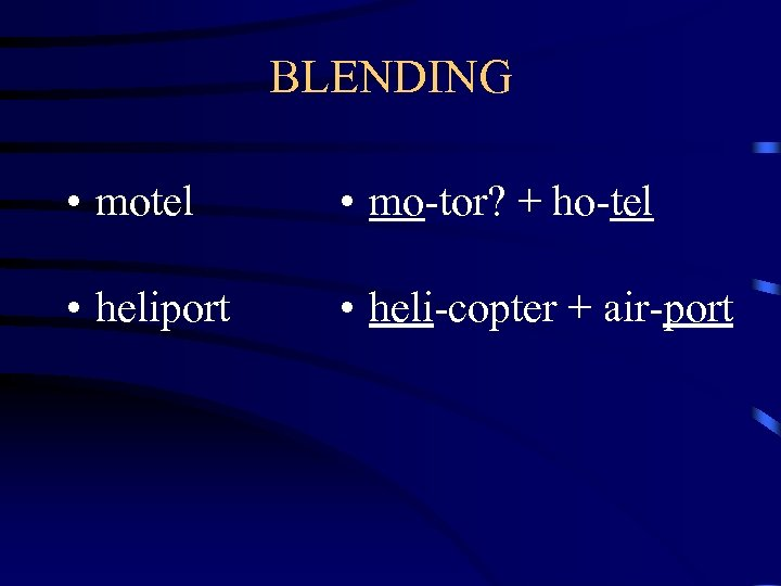 BLENDING • motel • mo-tor? + ho-tel • heliport • heli-copter + air-port
