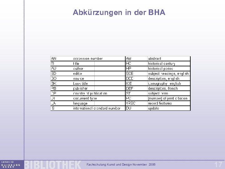 Abkürzungen in der BHA Fachschulung Kunst und Design November 2006 17