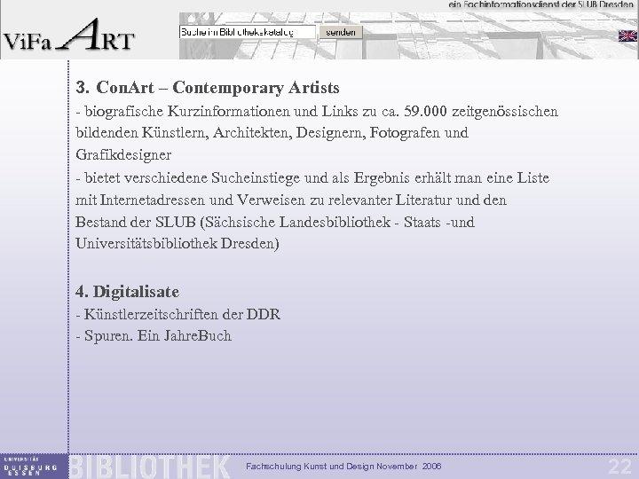 3. Con. Art – Contemporary Artists - biografische Kurzinformationen und Links zu ca. 59.