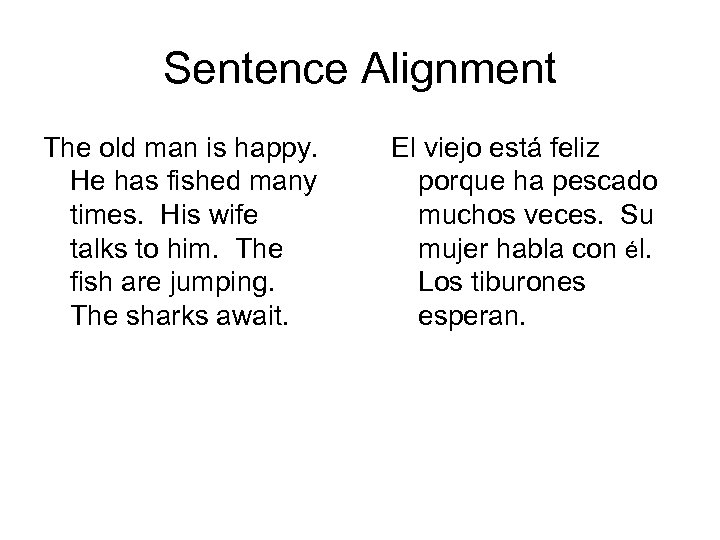 Sentence Alignment The old man is happy. He has fished many times. His wife