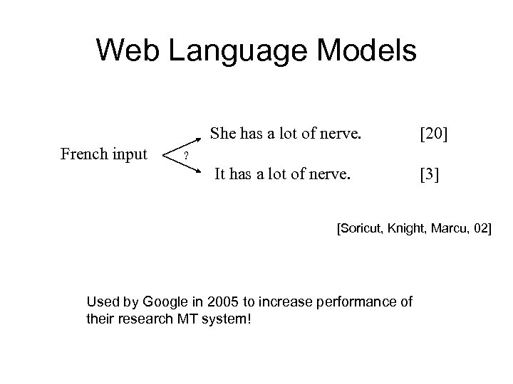 Web Language Models She has a lot of nerve. French input ? It has
