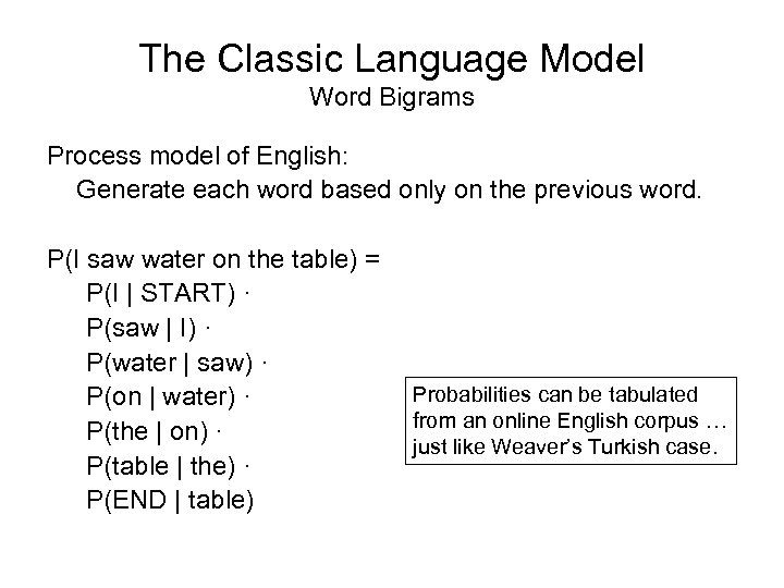The Classic Language Model Word Bigrams Process model of English: Generate each word based