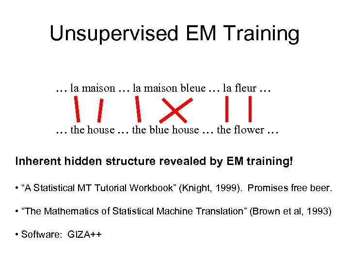 Unsupervised EM Training … la maison bleue … la fleur … … the house