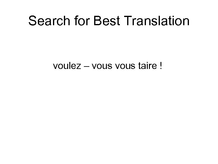Search for Best Translation voulez – vous taire !