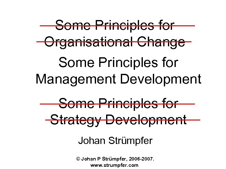 Some Principles for Organisational Change Some Principles for Management Development Some Principles for Strategy