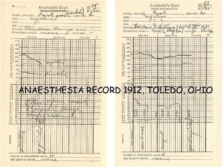 ANAESTHESIA RECORD 1912, TOLEDO, OHIO