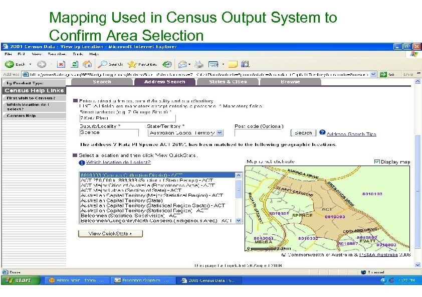 Mapping Used in Census Output System to Confirm Area Selection