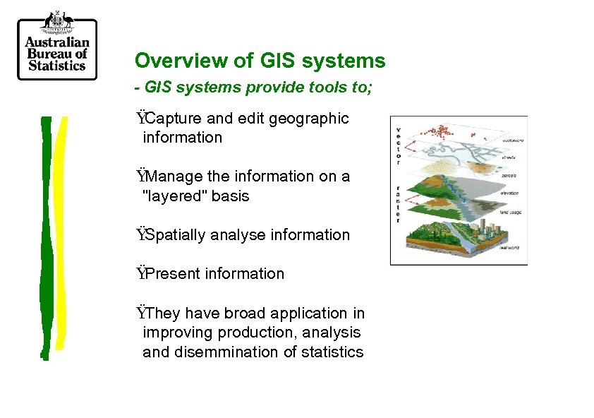Overview of GIS systems - GIS systems provide tools to; Ÿ Capture and edit