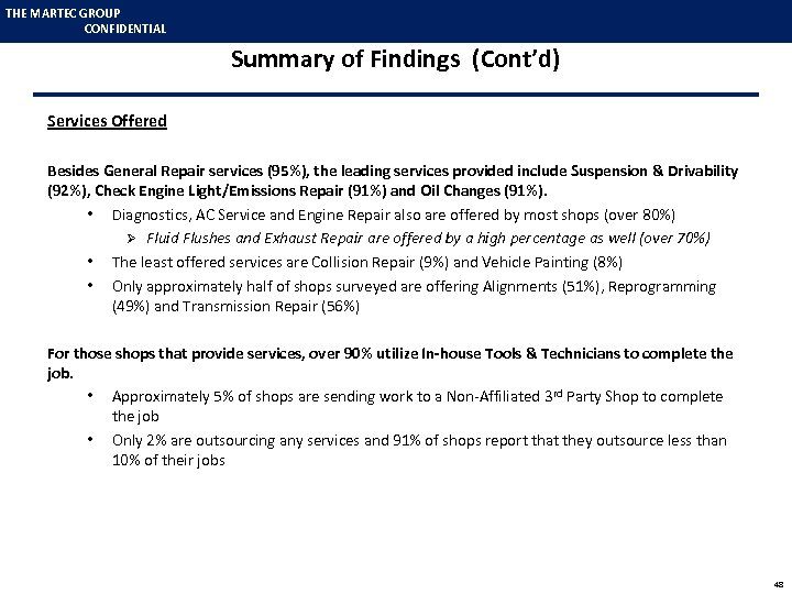 THE MARTEC GROUP CONFIDENTIAL Summary of Findings (Cont'd) Services Offered Besides General Repair services