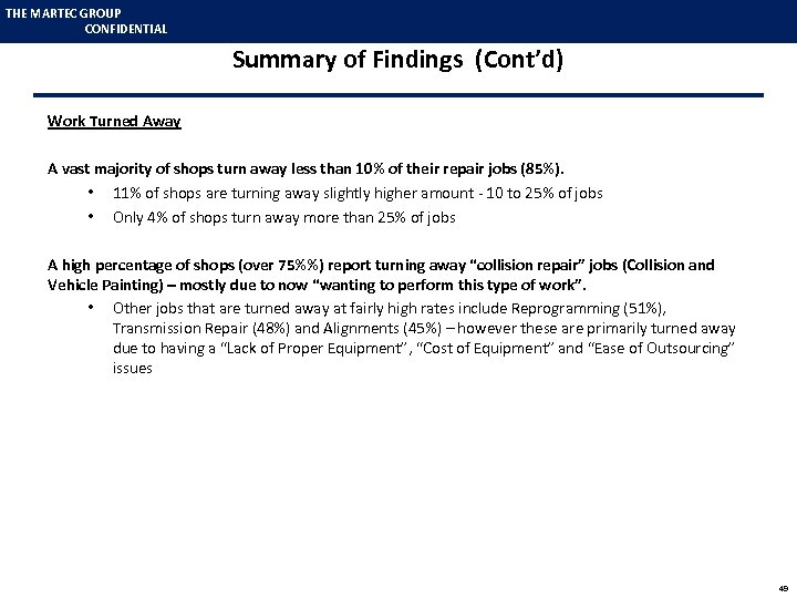 THE MARTEC GROUP CONFIDENTIAL Summary of Findings (Cont'd) Work Turned Away A vast majority