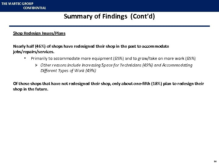 THE MARTEC GROUP CONFIDENTIAL Summary of Findings (Cont'd) Shop Redesign Issues/Plans Nearly half (46%)