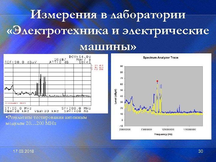 Измерения в лаборатории «Электротехника и электрические машины» • Результаты тестирования антенным модулем 20… 200