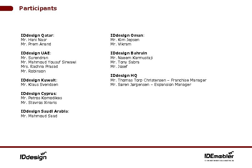 Participants IDdesign Qatar: Mr. Hani Nasr Mr. Prem Anand IDdesign Oman: Mr. Kim Jepsen
