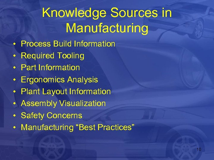 Knowledge Sources in Manufacturing • • Process Build Information Required Tooling Part Information Ergonomics