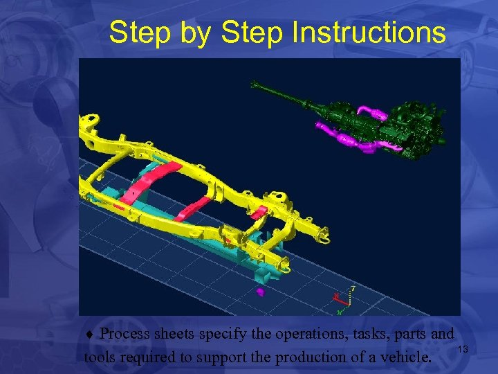 Step by Step Instructions ¨ Process sheets specify the operations, tasks, parts and tools