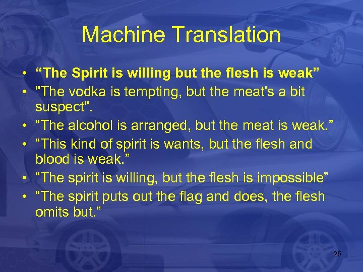 """Machine Translation • """"The Spirit is willing but the flesh is weak"""" •"""