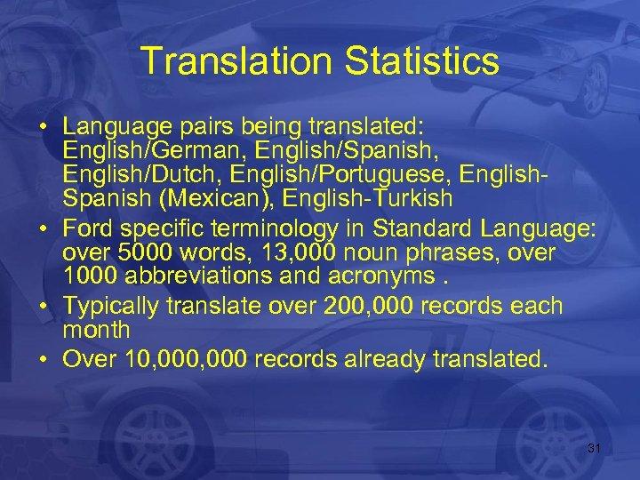 Translation Statistics • Language pairs being translated: English/German, English/Spanish, English/Dutch, English/Portuguese, English. Spanish (Mexican),