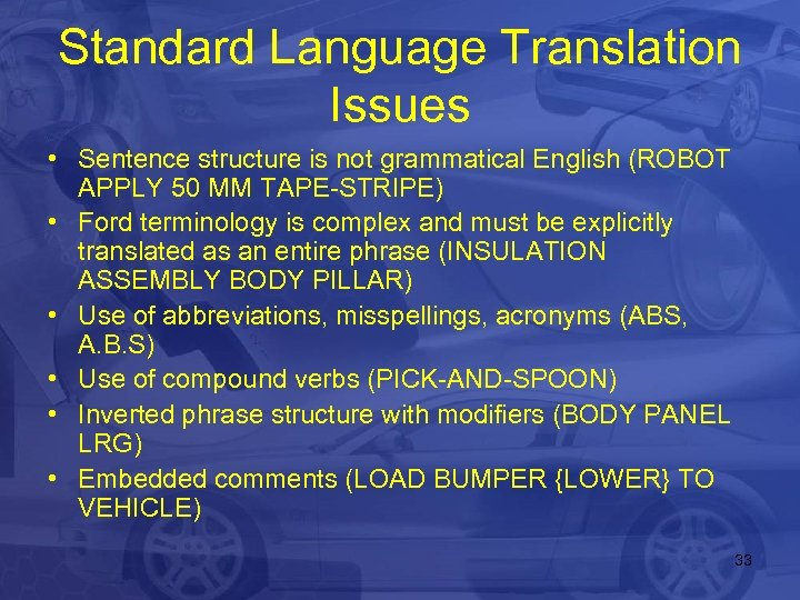 Standard Language Translation Issues • Sentence structure is not grammatical English (ROBOT APPLY 50