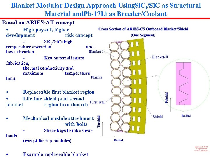Blanket Modular Design Approach Using. Si. Cf/Si. C as Structural Material and. Pb-17 Li