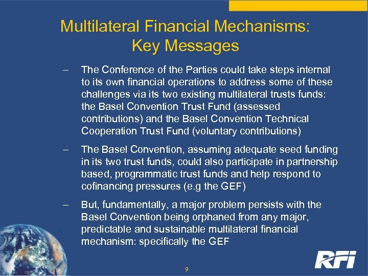 Multilateral Financial Mechanisms: Key Messages – The Conference of the Parties could take steps