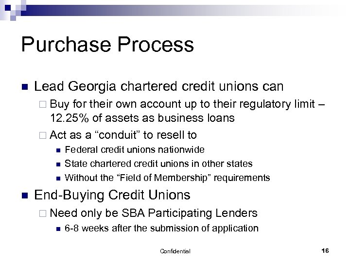 Purchase Process n Lead Georgia chartered credit unions can ¨ Buy for their own