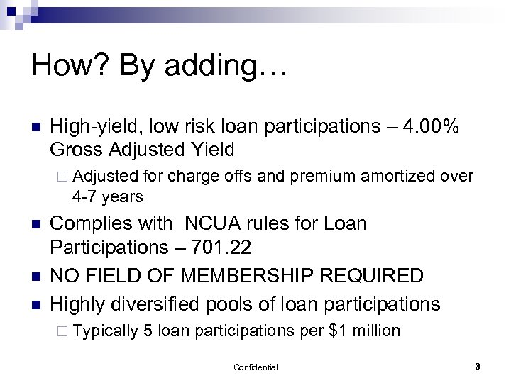 How? By adding… n High-yield, low risk loan participations – 4. 00% Gross Adjusted