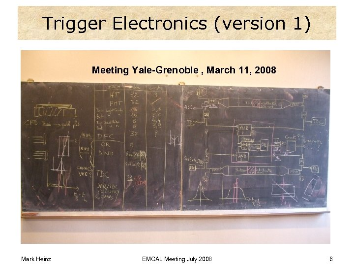 Trigger Electronics (version 1) Meeting Yale-Grenoble , March 11, 2008 Mark Heinz EMCAL Meeting