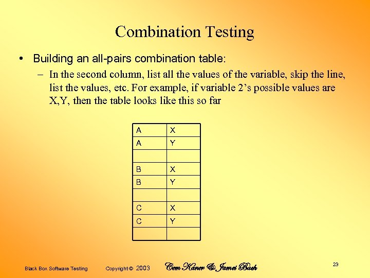 Combination Testing • Building an all-pairs combination table: – In the second column, list